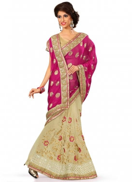 Fine Embroidery Work Viscose Half N Half Designer Saree