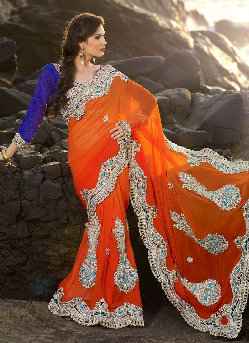 Fine Orange Shaded Wedding Saree
