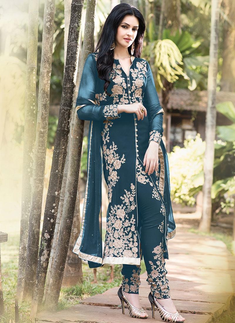 Fine Resham Work Georgette Designer Salwar Kameez