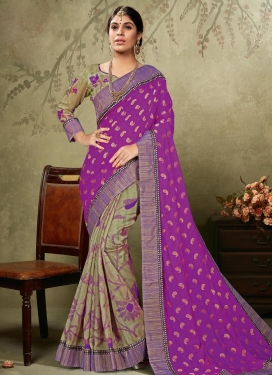 Flamboyant  Art Silk Half N Half Saree For Ceremonial