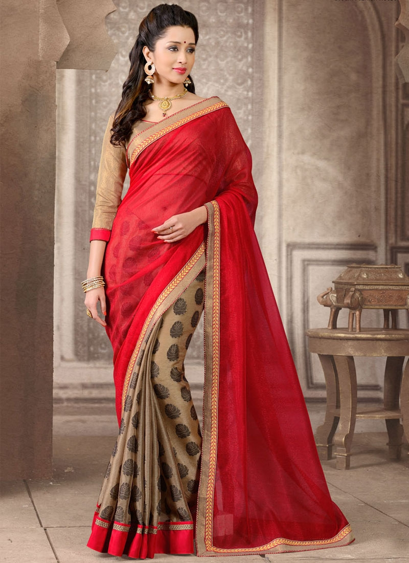 Flamboyant Beige And Red Color Half N Half Casual Saree