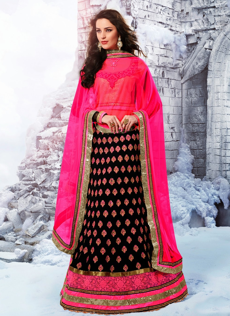 Flamboyant Black Color Party Wear Lehenga Choli