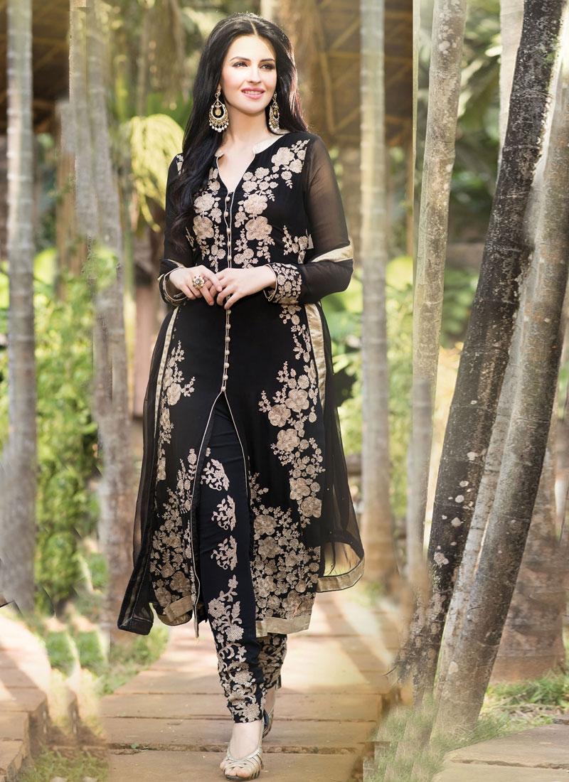 Flamboyant Black Color Resham Work Designer Salwar Kameez