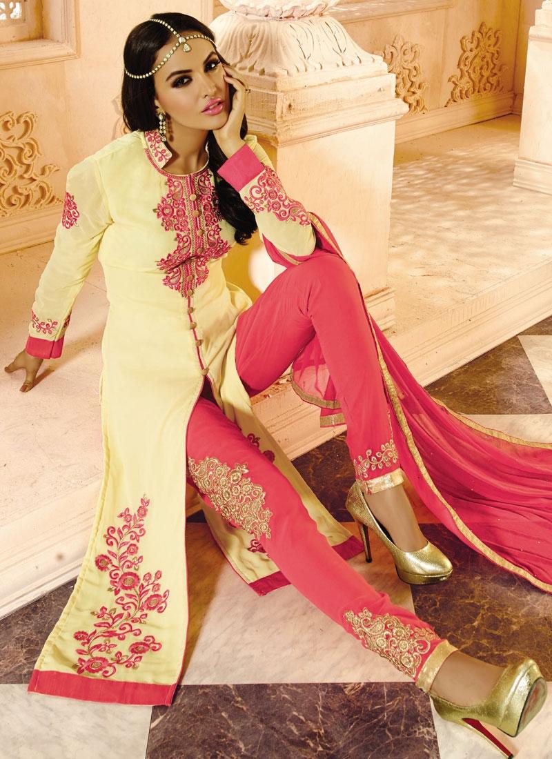 Flamboyant Booti Work Pant Style Salwar Suit
