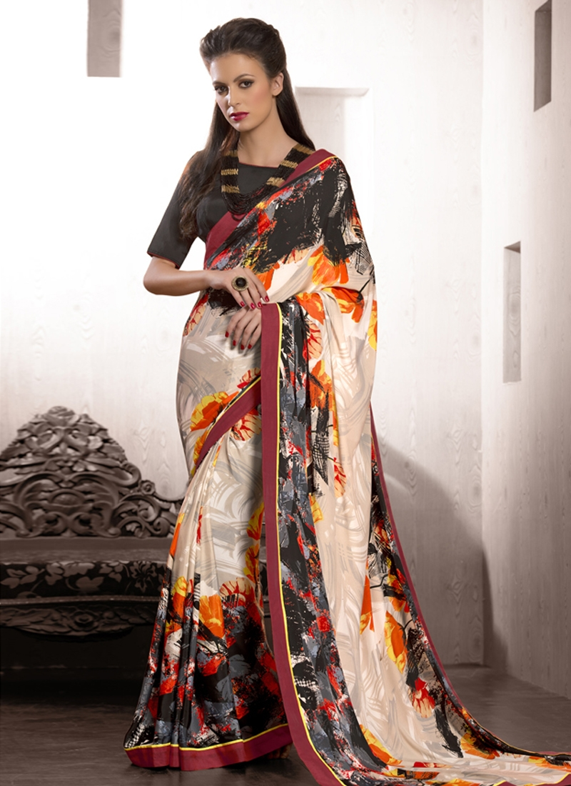 Flamboyant Digital Print Work Casual Saree