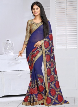 Flamboyant Embroidered Work Classic Saree For Ceremonial