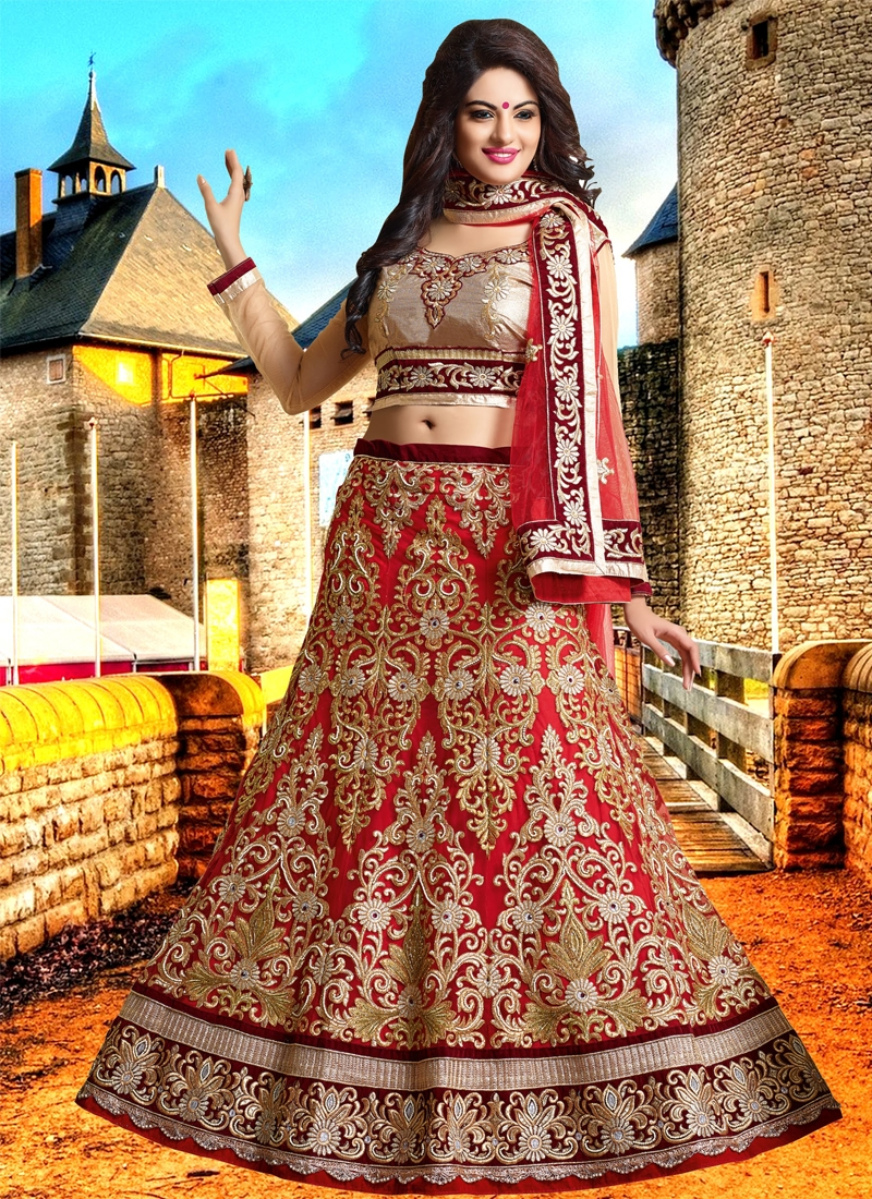 Flamboyant Embroidery Work Bridal Lehenga Choli