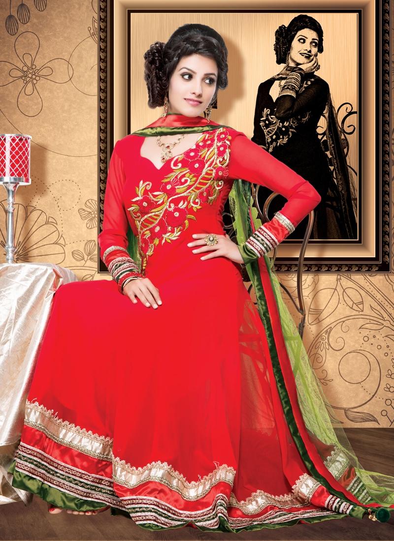 Flamboyant Floral Work Anarkali Salwar Kameez