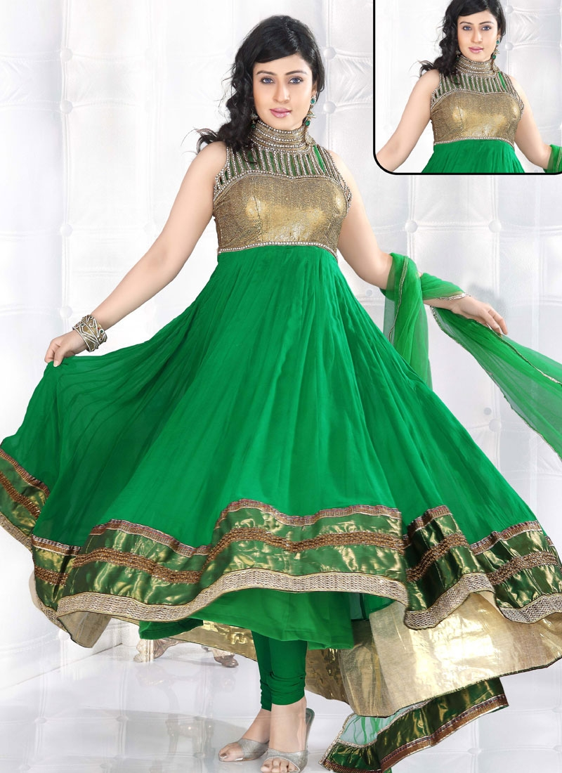 Flamboyant Green Anarkali Suit