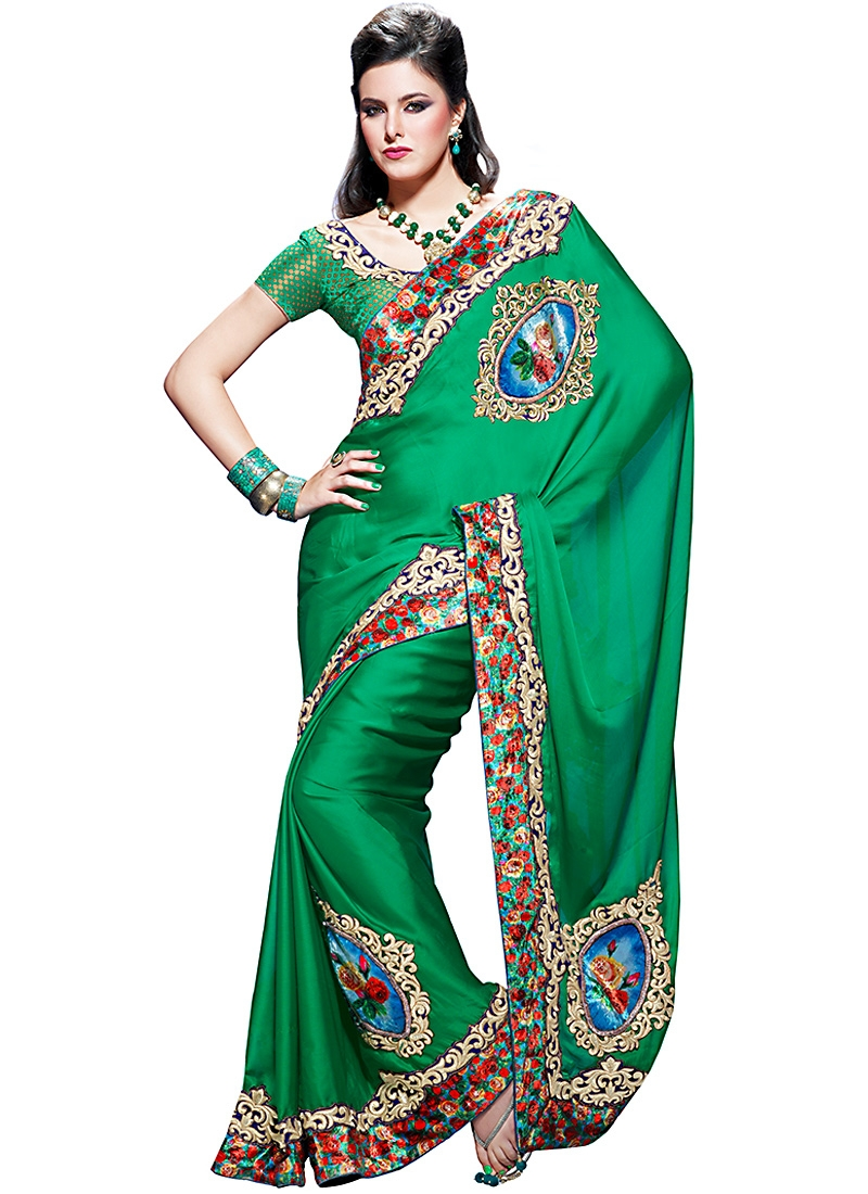 flamboyant Green Faux Georgette Saree