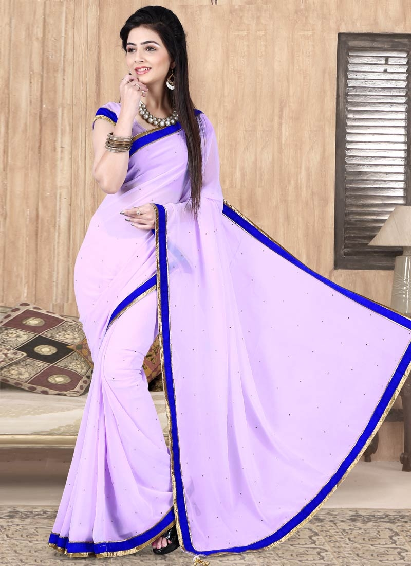 Flamboyant Lavender Color Faux Georgette Casual Saree