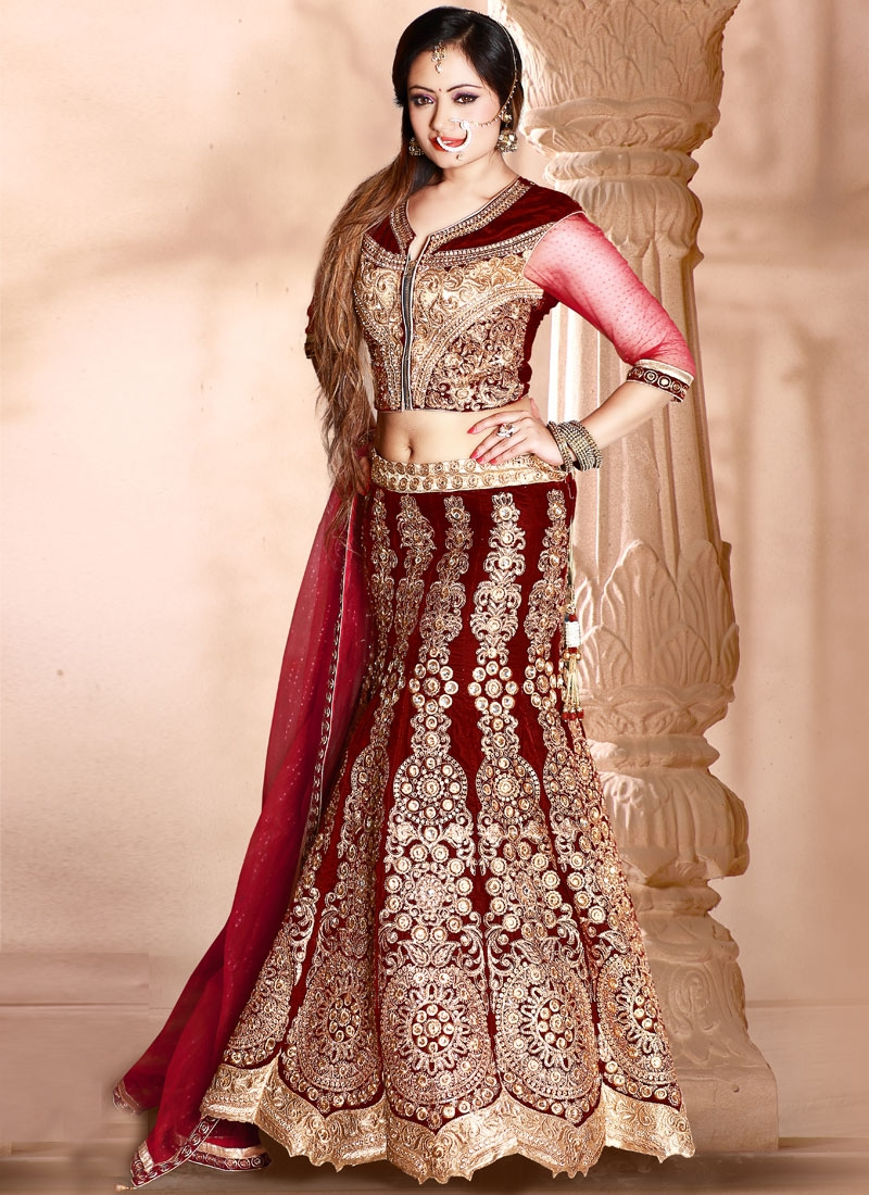 Flamboyant Maroon Color Booti Work Bridal Lehenga Choli