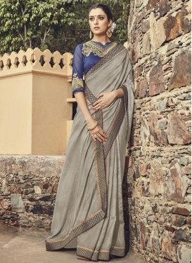 Flamboyant  Navy Blue and Silver Color Contemporary Style Saree For Festival