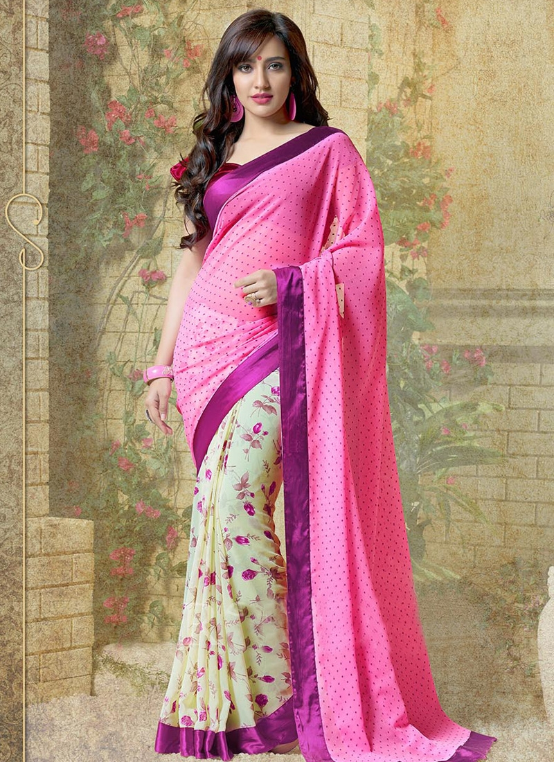 Flamboyant Neha Sharma Digital Printed Half N Half Casual Saree