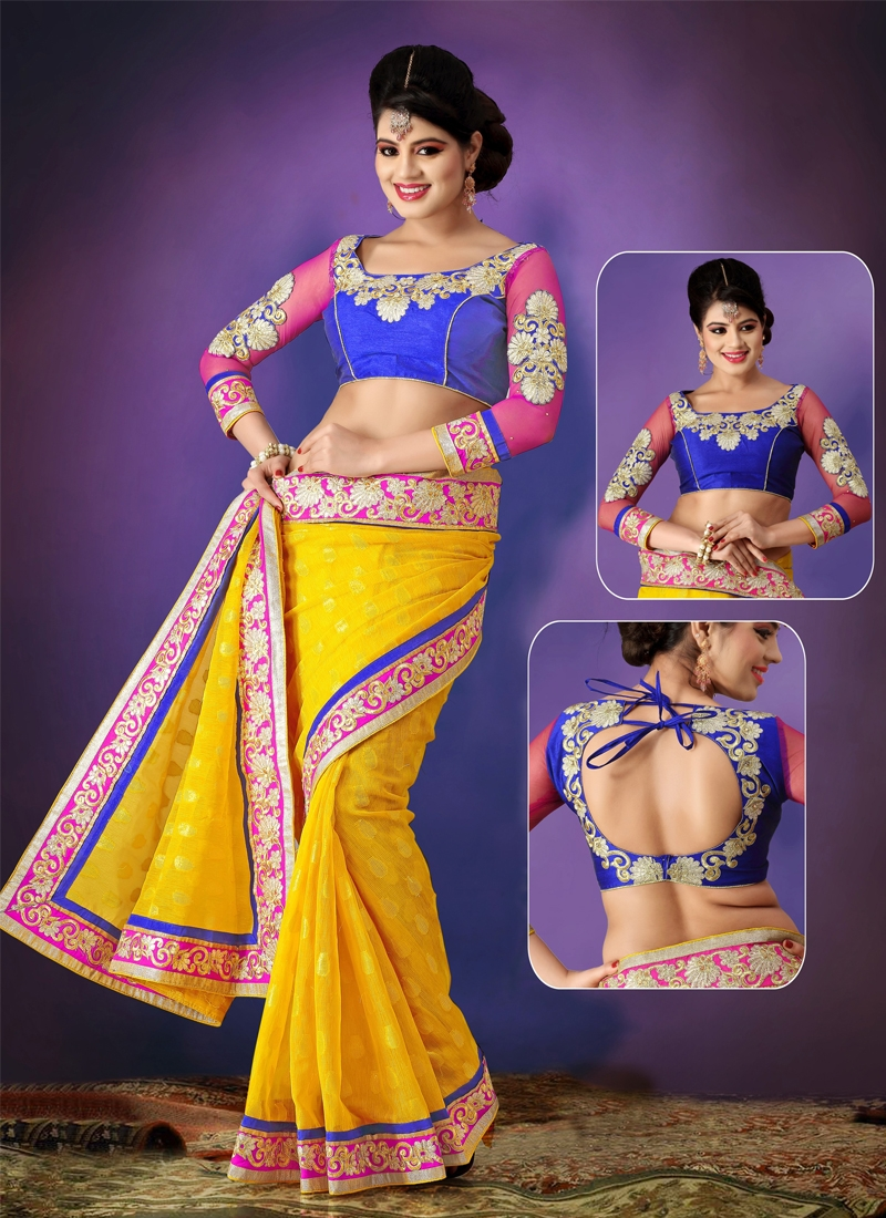 Flamboyant Patch Enhanced Party Wear Saree