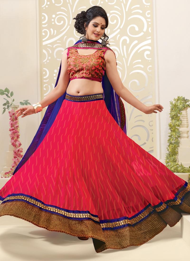Flamboyant Patch Work Net Wedding Lehenga Choli