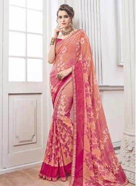 Flamboyant Peach and Rose Pink Classic Saree