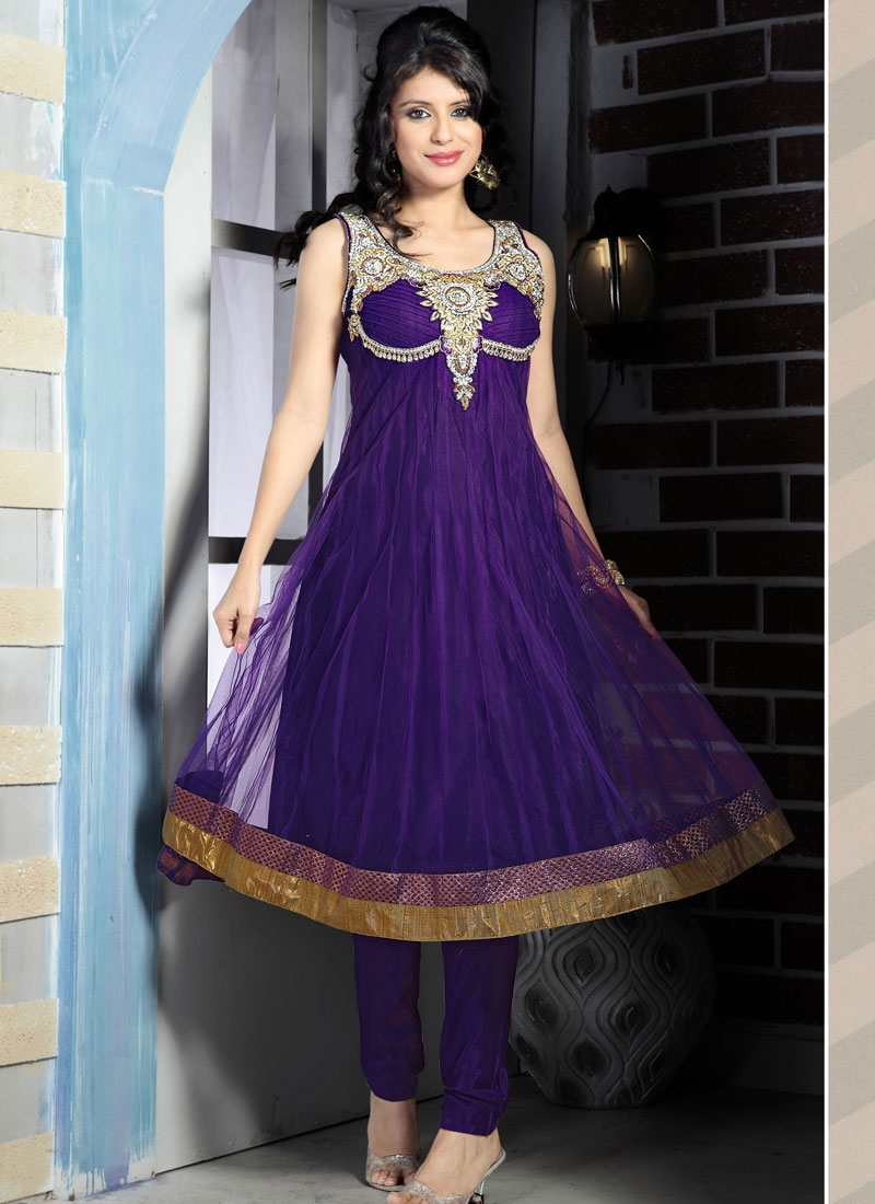 Flamboyant Purple Anarkali Salwar Kameez