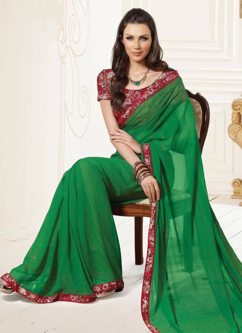 Flamboyant Sea Green And Maroon Casual Saree