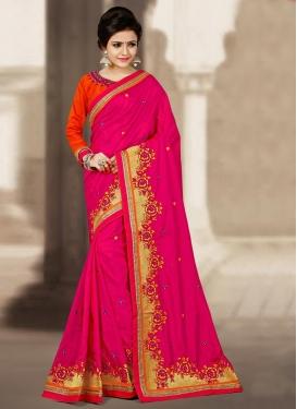 Flamboyant Silk Embroidered Work Traditional Saree