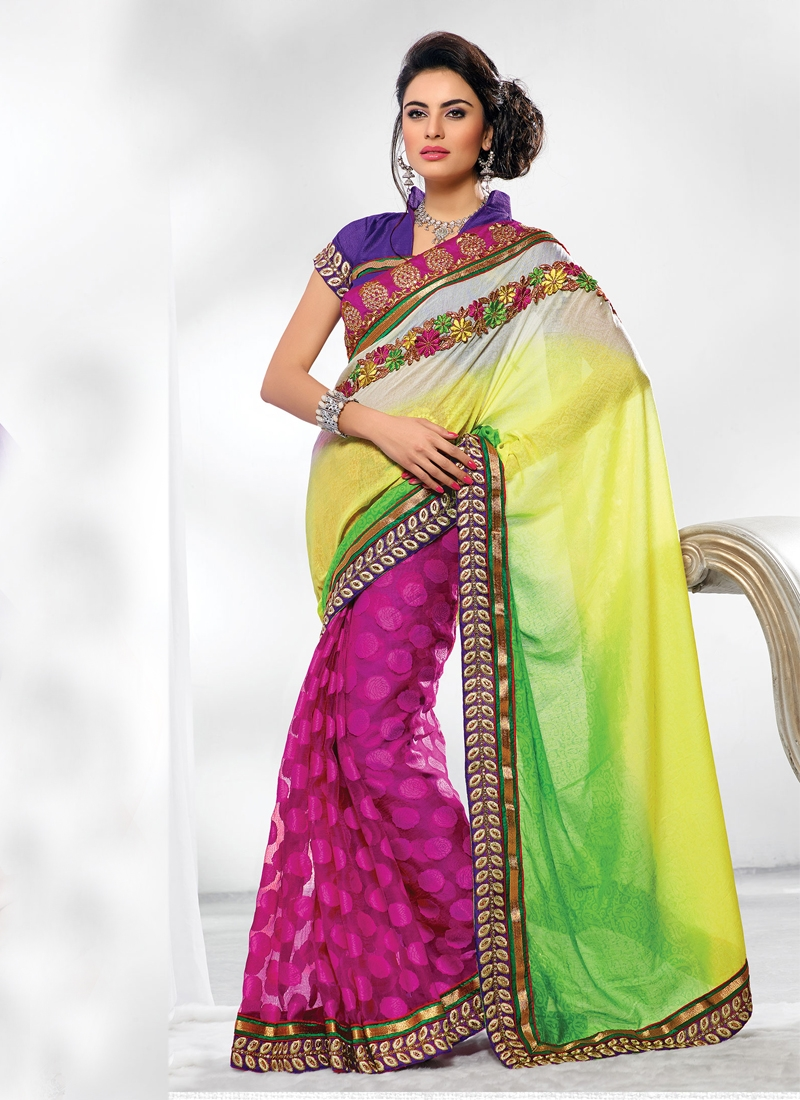 Flamboyant Stone Enhanced Half N Half Saree