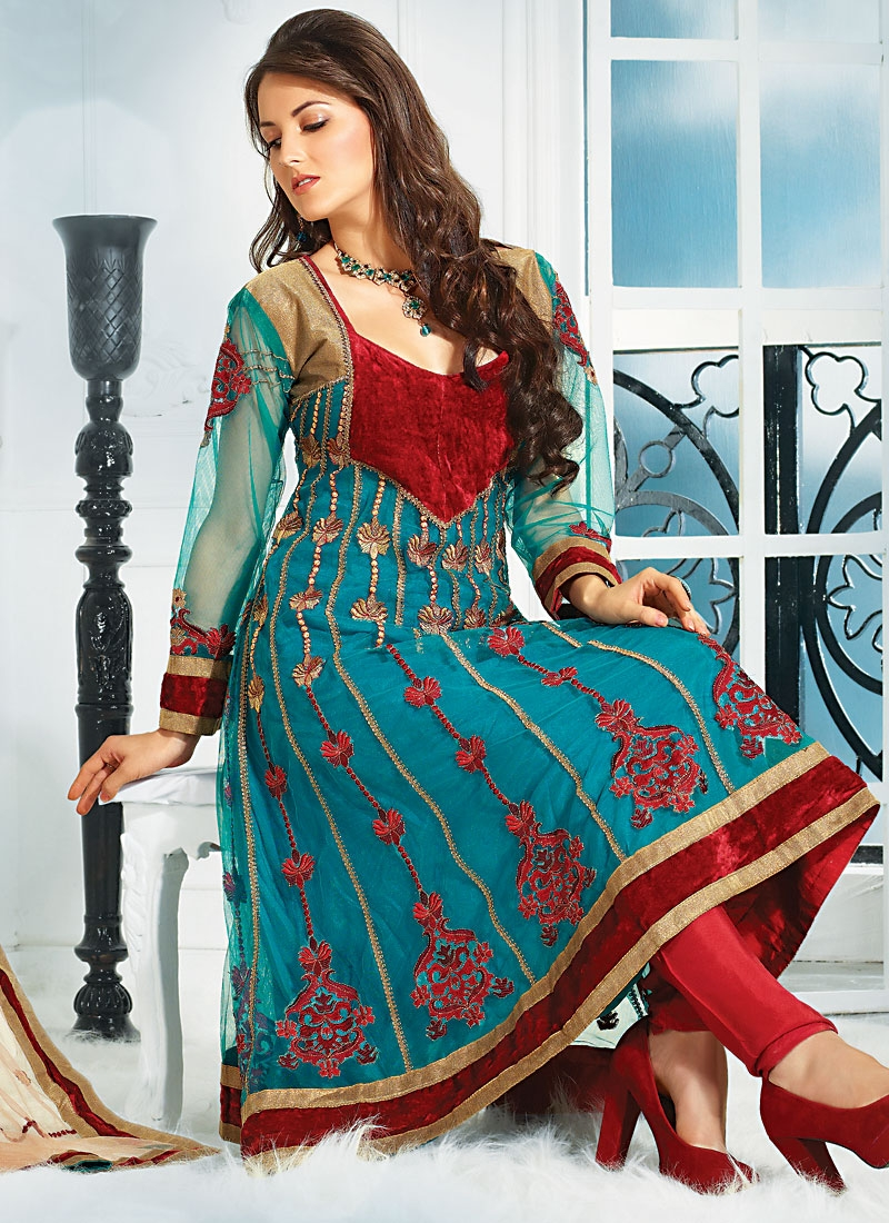 Flamboyant Teal And Red Anarkali Salwar Kameez