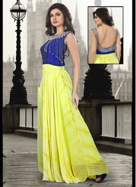 Flamboyant Yellow Color Party Wear Readymade Gown