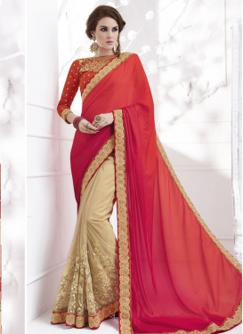Flattering Beads Work Faux Georgette Cream and Orange Half N Half Designer Saree