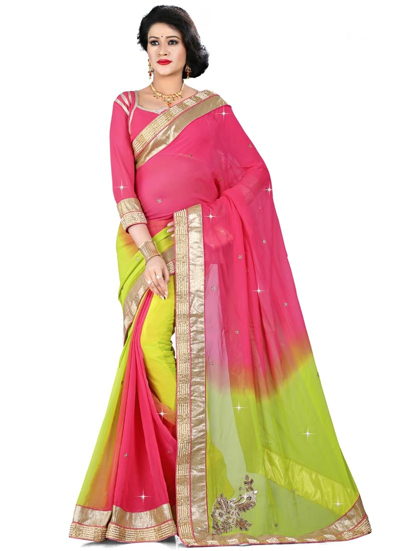 Flattering Beads Work Viscose Designer Saree