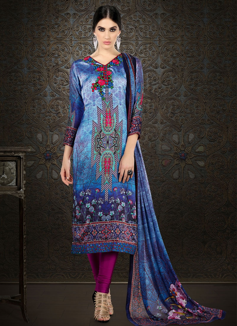 Flattering Blue Color Satin Silk Party Wear Salwar Suit