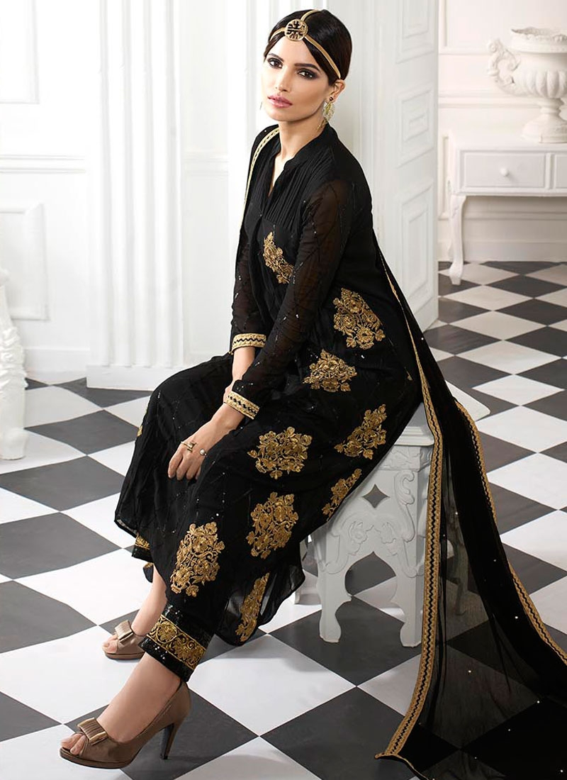 Flattering Booti Work Black Color Pant Style Pakistani Suit