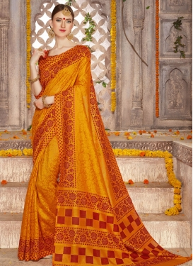 Flattering Brasso Georgette Print Work Contemporary Style Saree