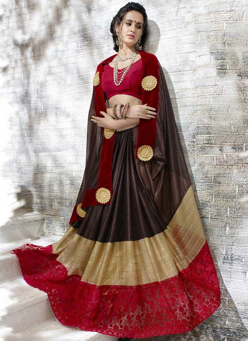 Flattering Coffee Brown And Red Color Party Wear Saree