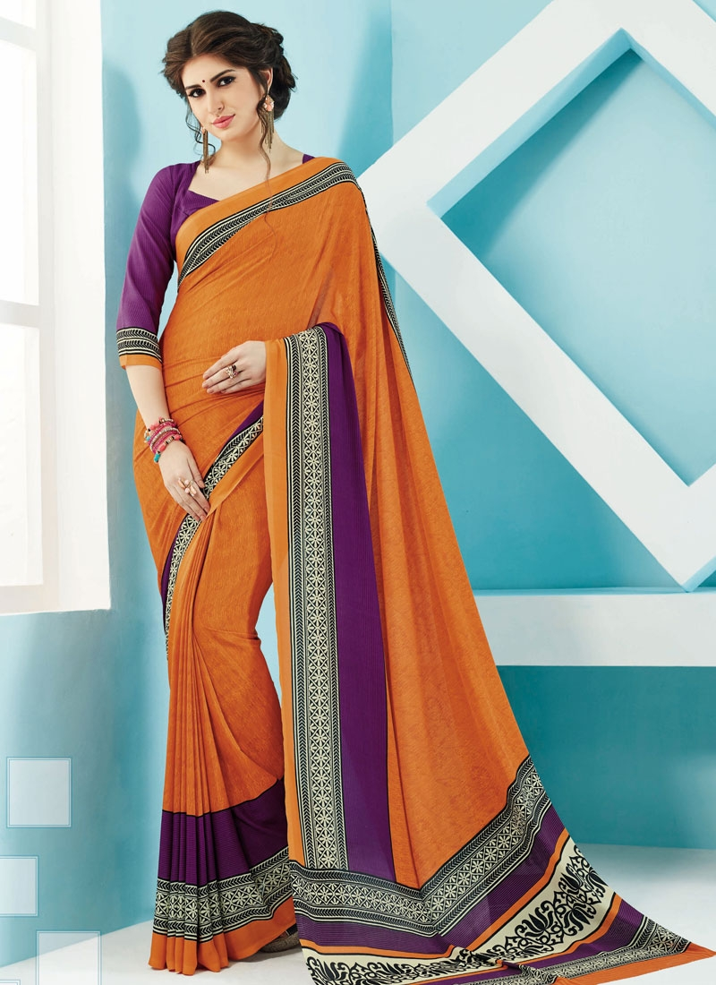Flattering Crepe Silk Printed Casual Saree