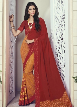 Flattering Digital Print Work Faux Georgette Maroon and Orange Contemporary Style Saree