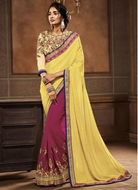 Flattering Embroidered Work Half N Half Trendy Saree