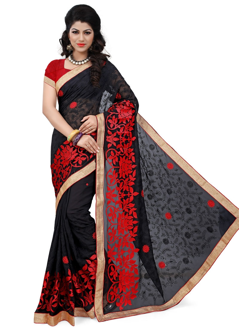 Flattering Embroidery And Lace Work Designer Saree