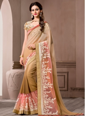 Flattering Embroidery And Lace Work Party Wear Saree