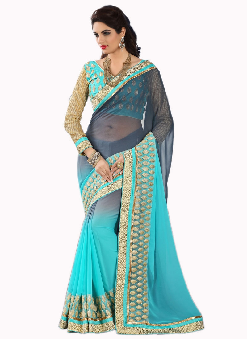 Flattering Embroidery Work Party Wear Saree