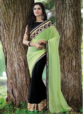 Flattering Mint Green And Black Color Half N Half Designer Saree
