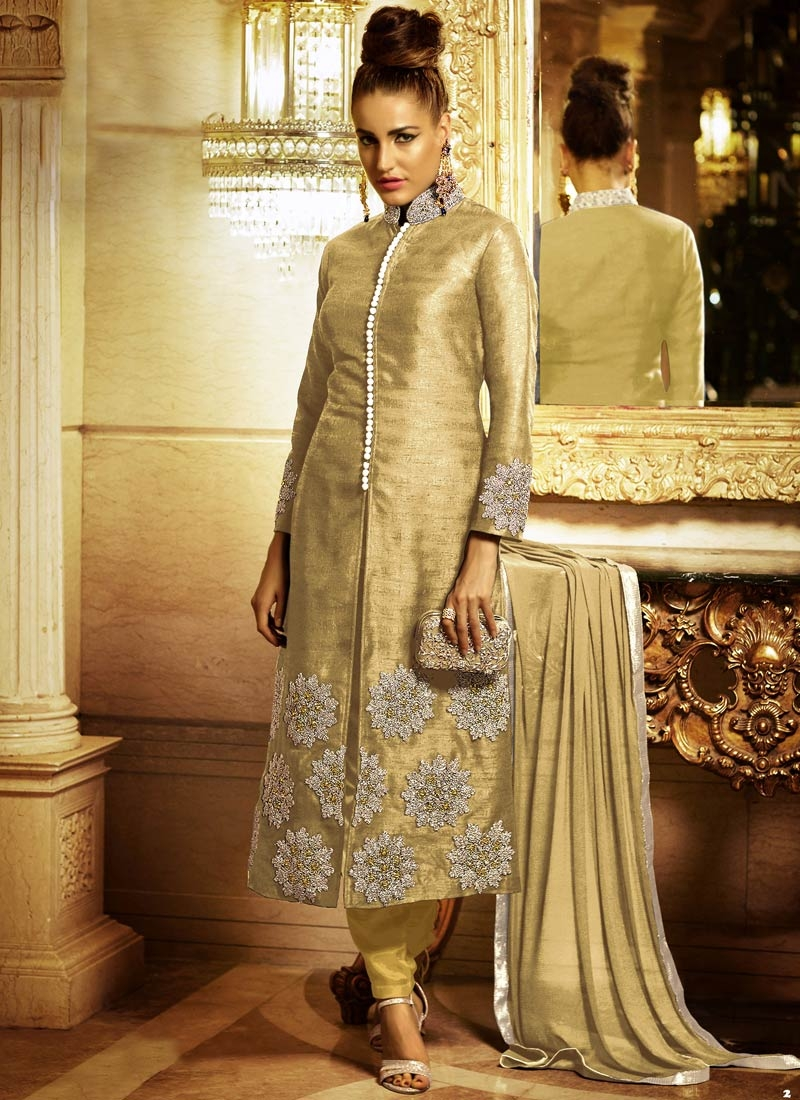 Flattering Stone And Zari Work Pant Style Designer Suit