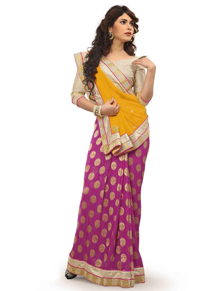 Flattering Viscose Lace Work Half N Half Designer Saree