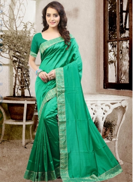 Flawless Art Silk Lace Work Trendy Saree For Ceremonial