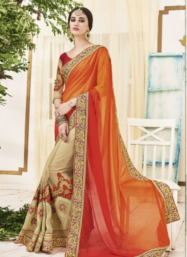 Flawless Beige and Orange  Half N Half Saree