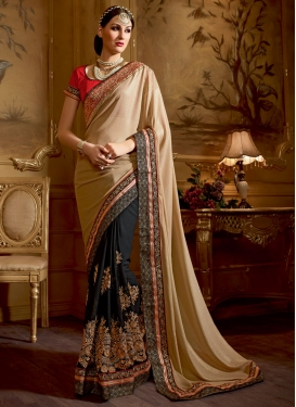 Flawless Booti And Sequins Work Half N Half Wedding Saree