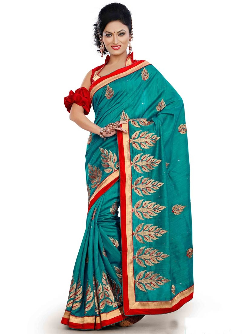 Flawless Booti Work Teal Color Party Wear Saree