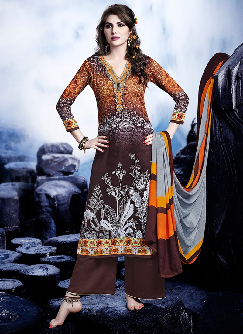 Flawless Coffee Brown Color Satin Palazzo Style Pakistani Suit