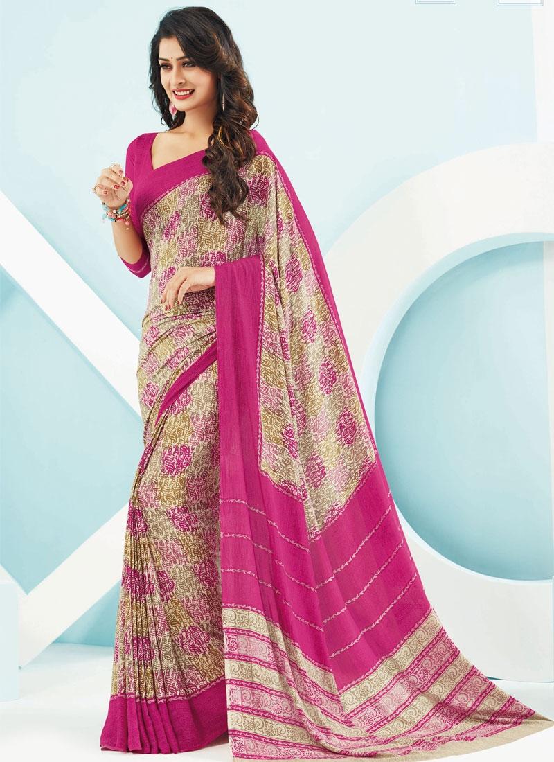 Flawless Digital Print Work Rose Pink Color Casual Saree