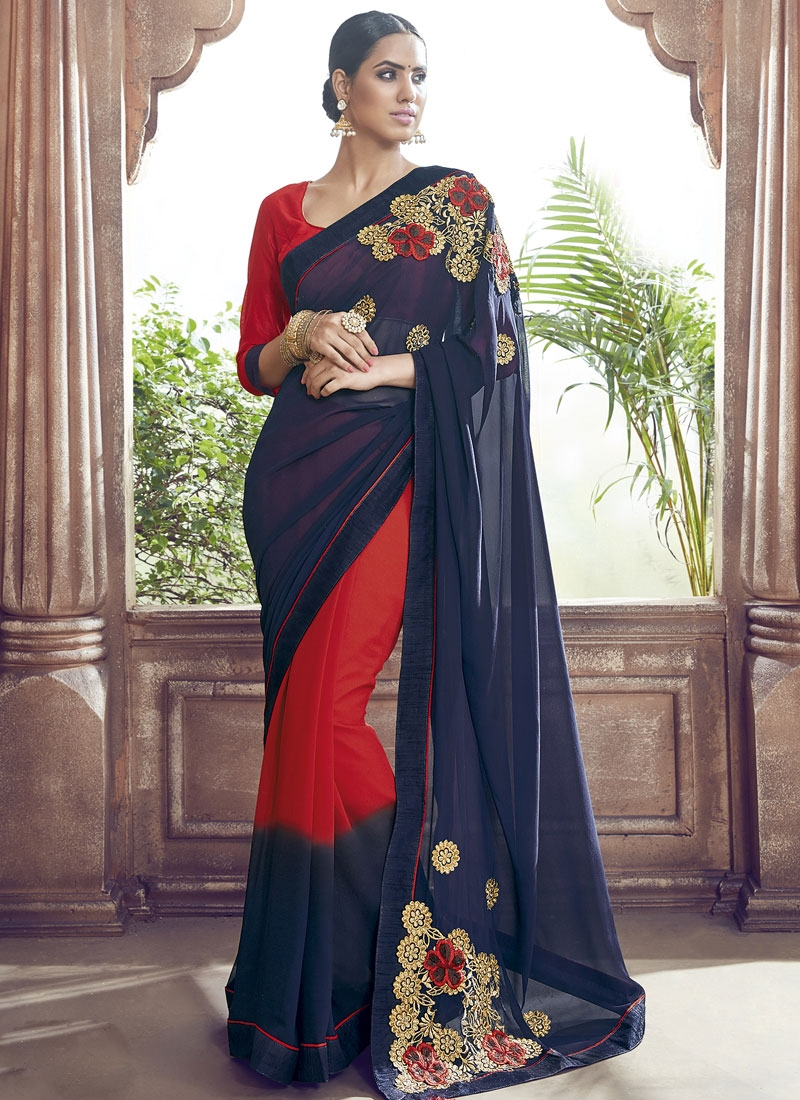 Flawless Embroidery Work Party Wear Saree
