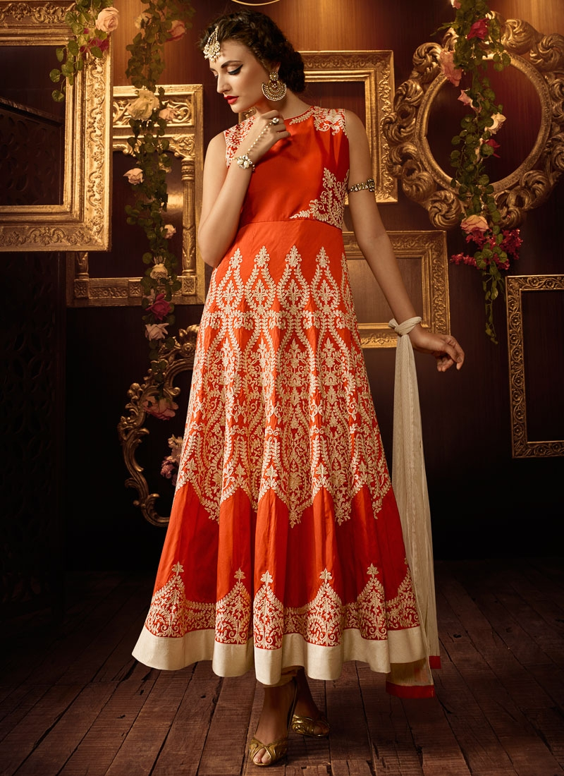 Flawless Embroidery Work Silk Anarkali Salwar Kameez